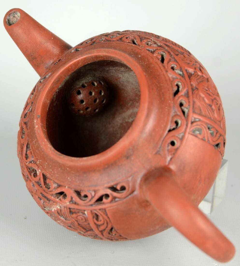Chinese Zisha Teapots; Chinese Carved Brush Pots - 6