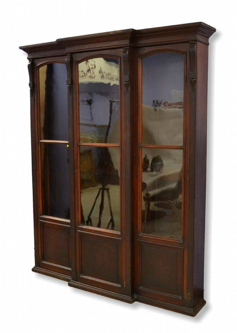 3 door walnut Victorian bookcase