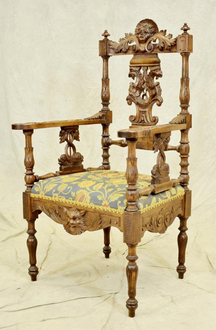 Figural carved walnut Renaissance Revival armchair - 2