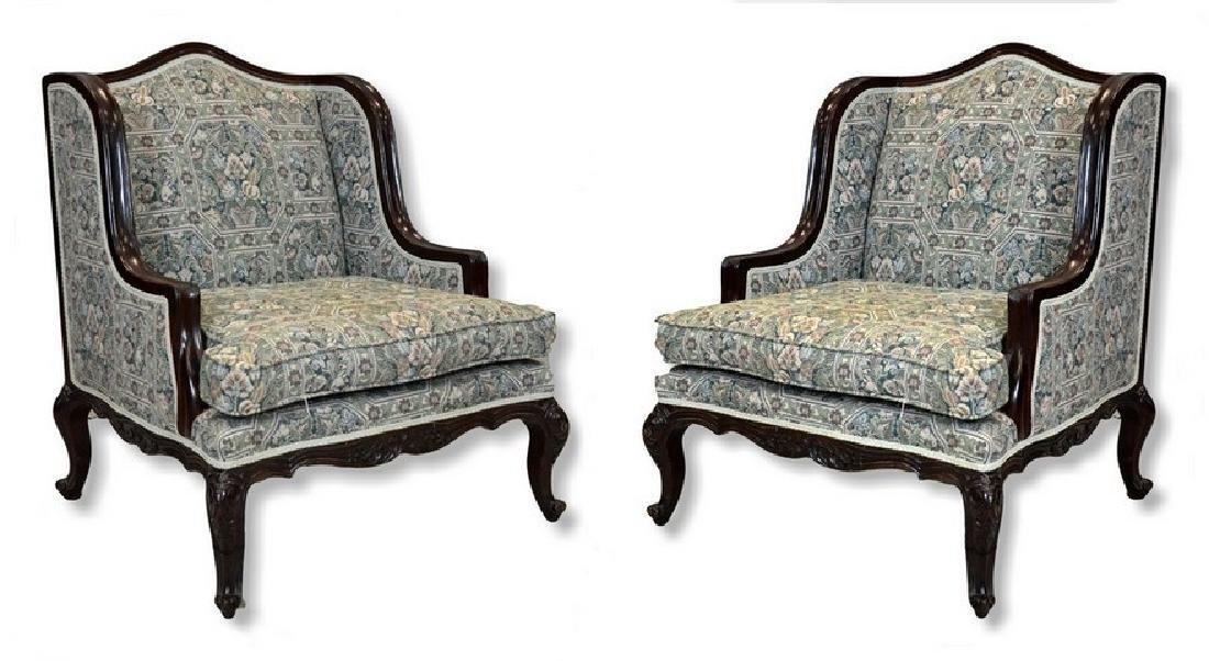"Pr Louis XV style uph armchairs, 35"" h, 25 1/2"" w, 30"""