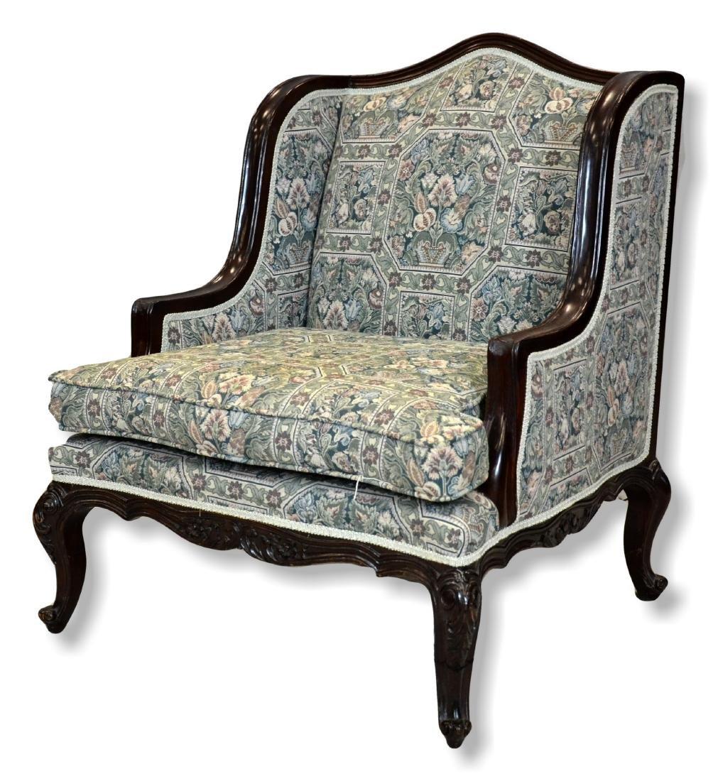 "Pr Louis XV style uph armchairs, 35"" h, 25 1/2"" w, 30"" - 2"