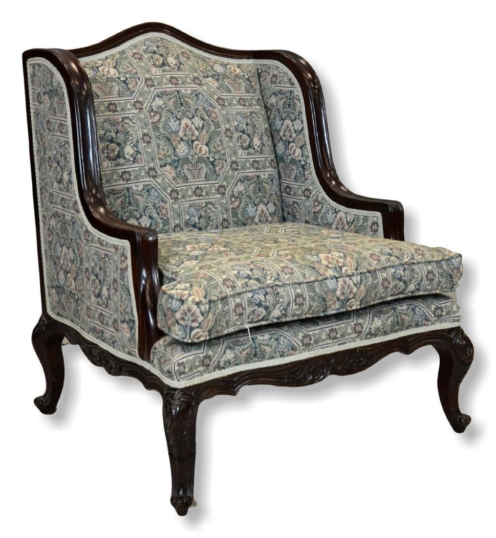 "Pr Louis XV style uph armchairs, 35"" h, 25 1/2"" w, 30"" - 3"