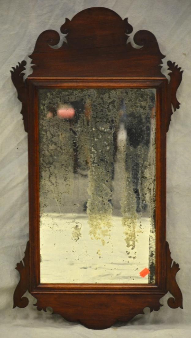"Mahogany fretwork wall mirror, 17"" w, 32 1/2"" h"
