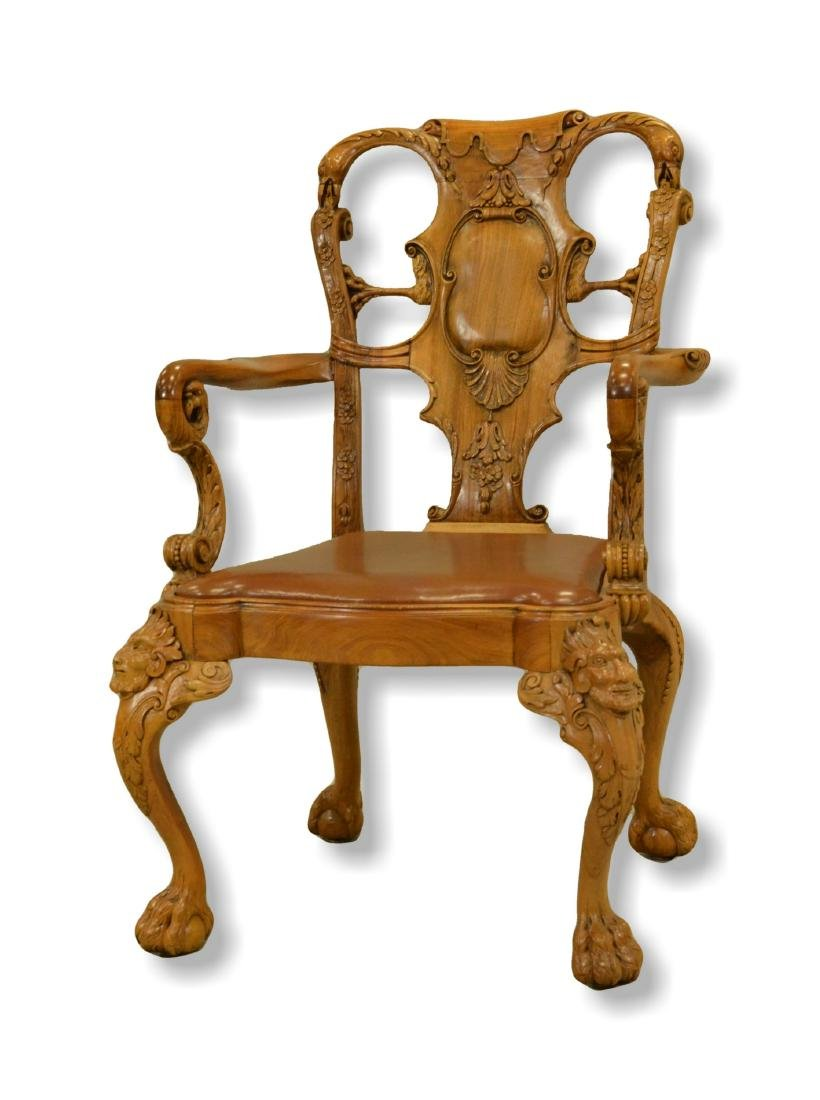 Rococo style figural carved armchair