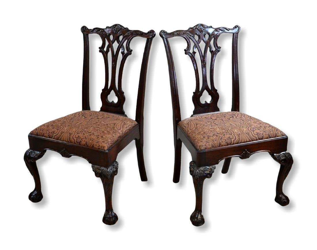 Pr Carved Mahogany Georgian Style Dining Chairs