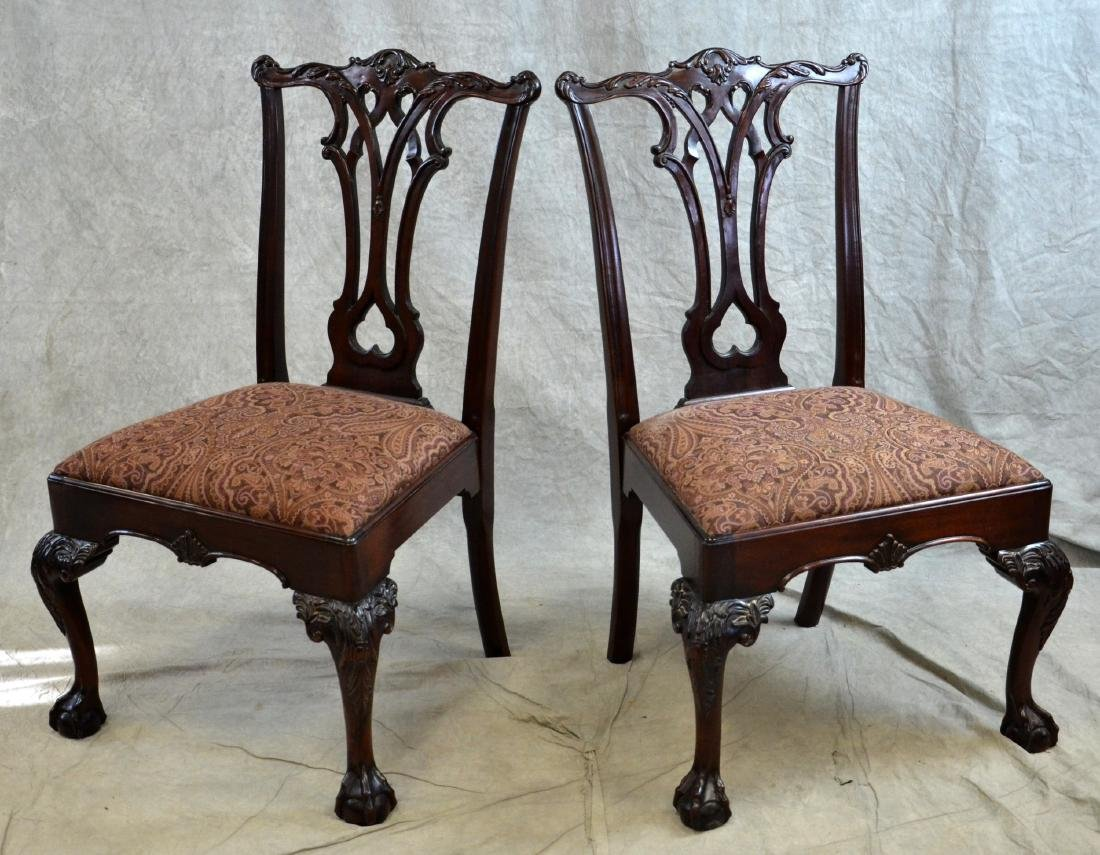 Pr Carved Mahogany Georgian Style Dining Chairs - 3