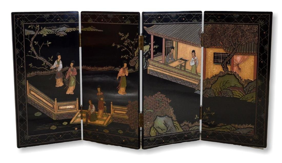 Gilt & Black Lacquered Asian Table Screen
