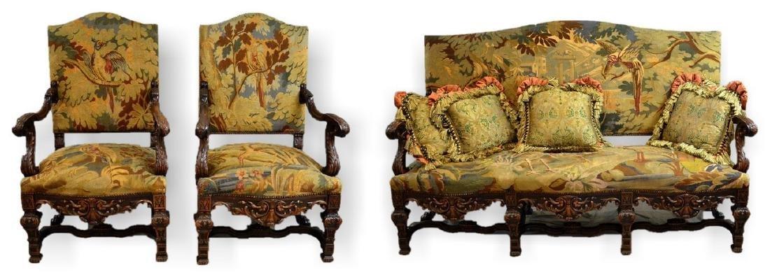 Renaissance Revival Settee & 2 Armchairs