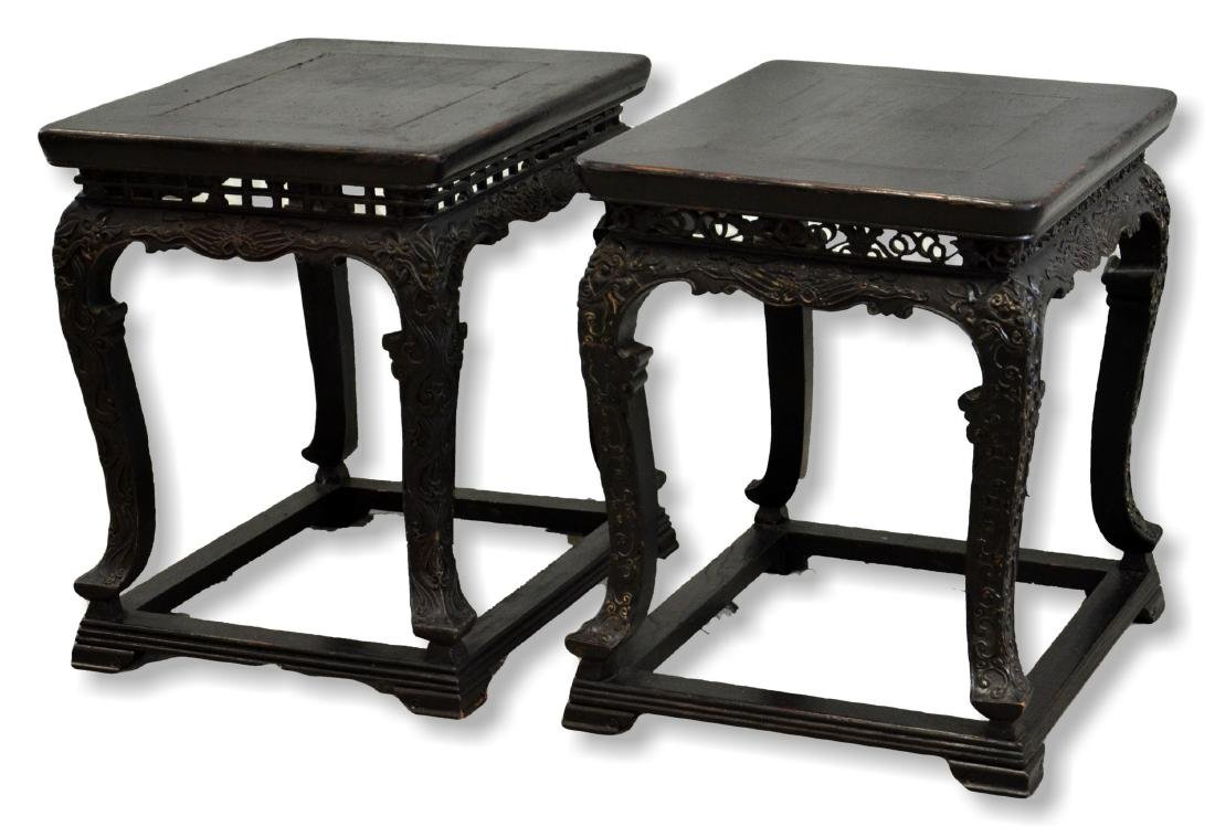 Pr Carved & Stained Chinese Low Tables