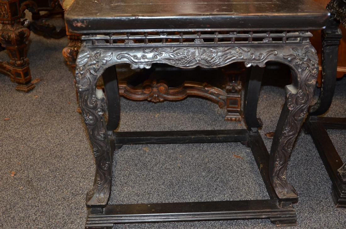Pr Carved & Stained Chinese Low Tables - 3