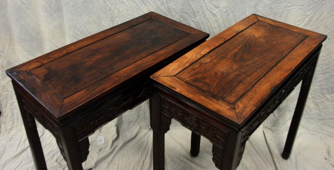 """Pair carved rosewood Asian console tables, 33""""w - 2"""
