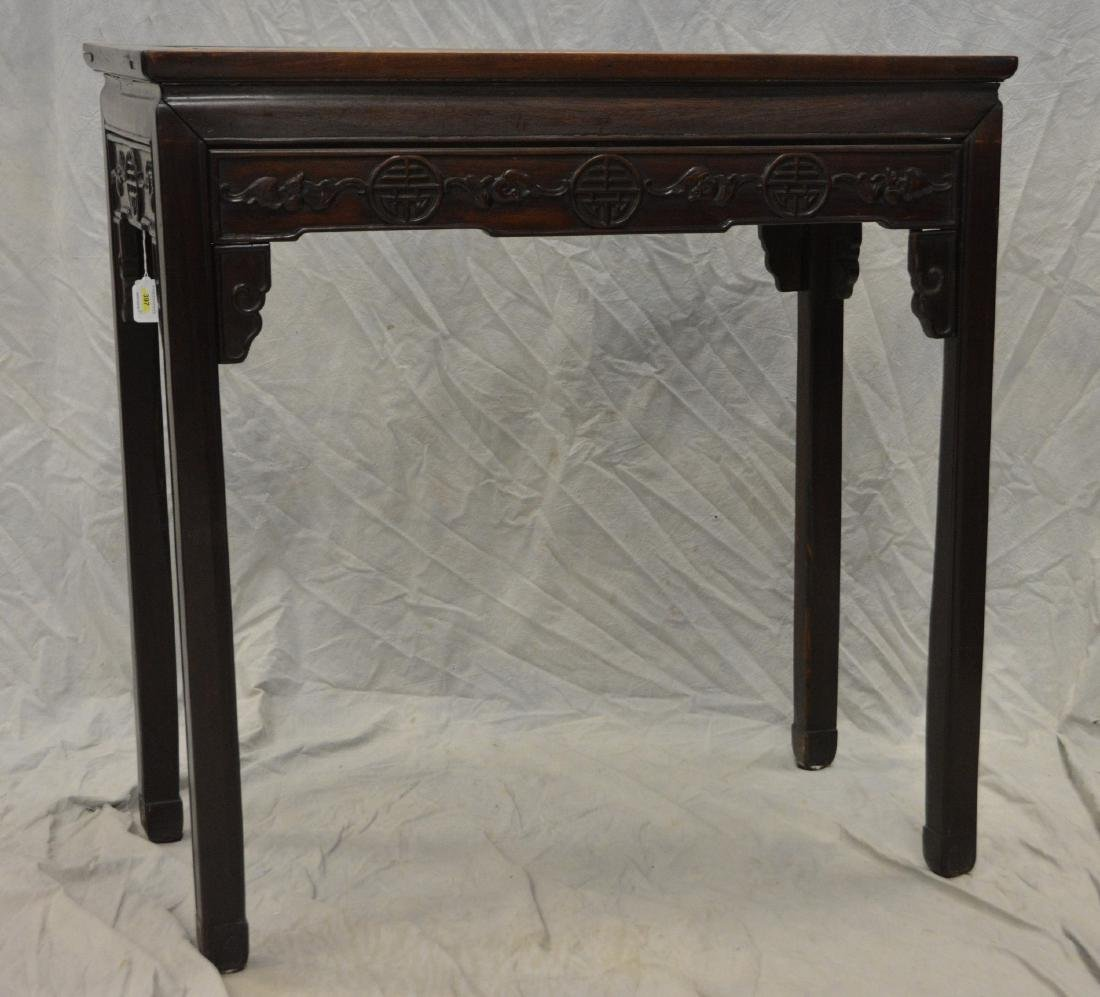 """Pair carved rosewood Asian console tables, 33""""w - 3"""