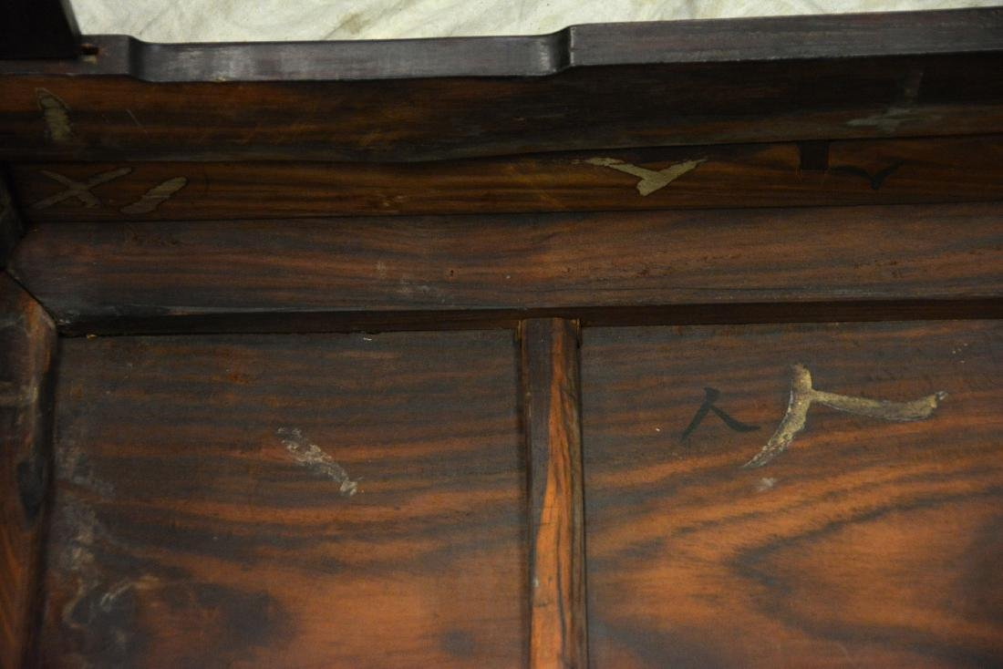"""Pair carved rosewood Asian console tables, 33""""w - 5"""