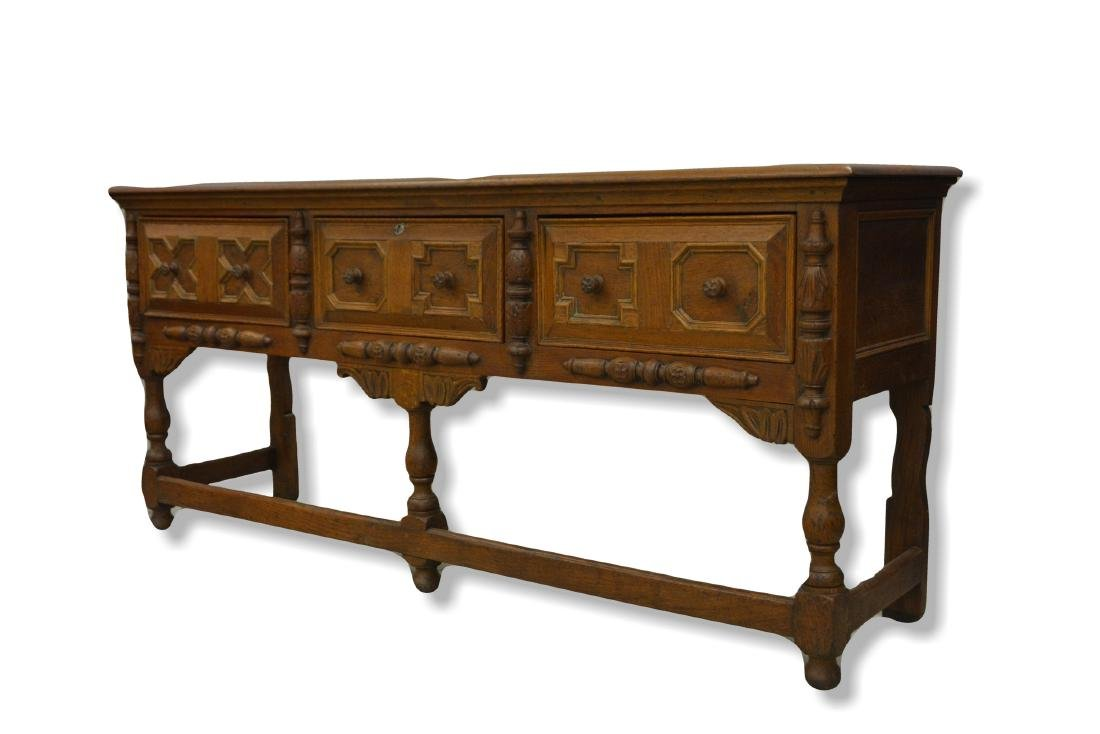 Oak Jacobean sideboard with three drawers