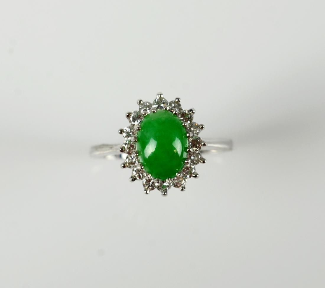 14KT YG and jadeite cluster ring
