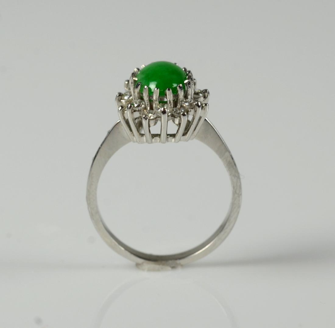 14KT YG and jadeite cluster ring - 2