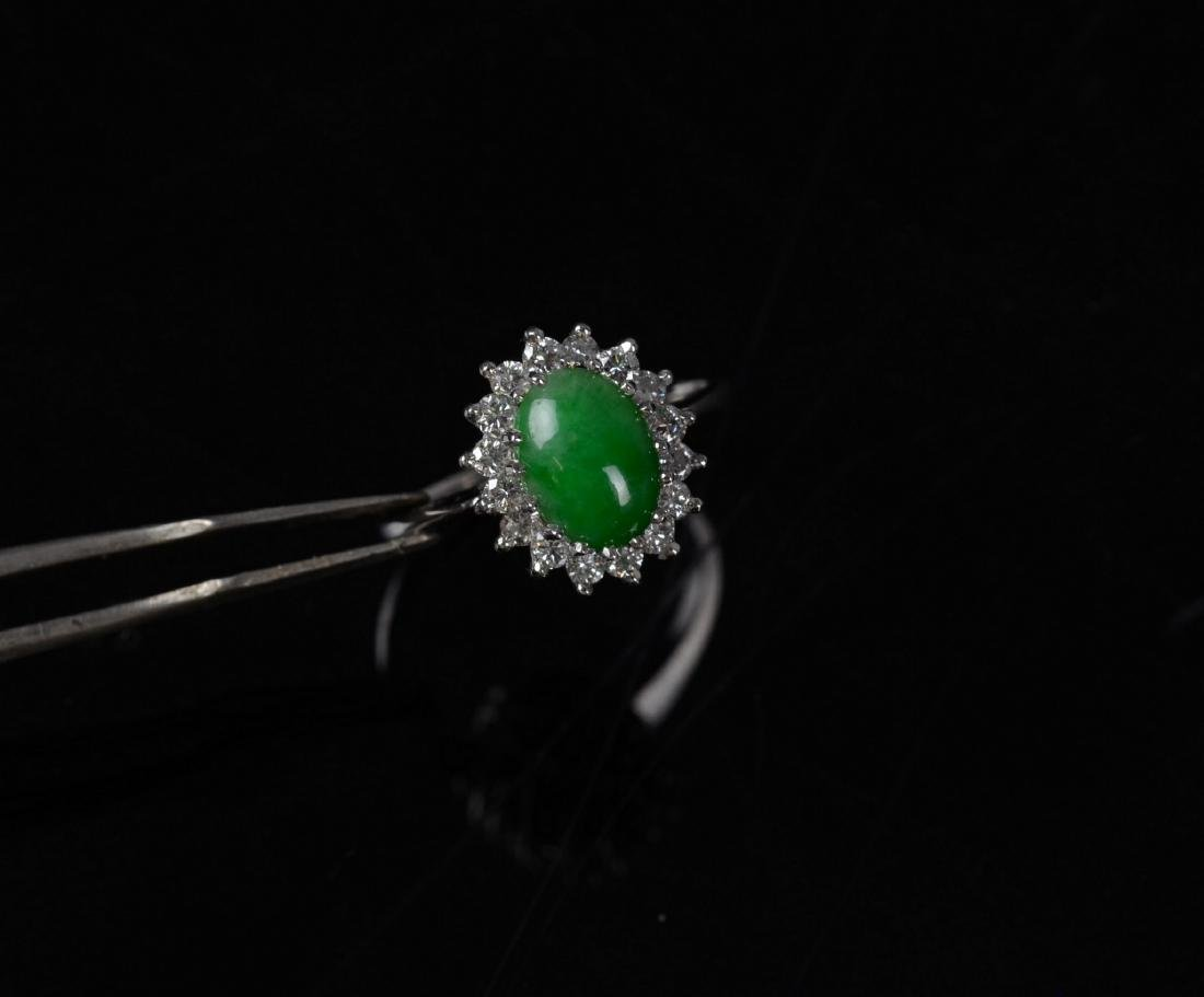 14KT YG and jadeite cluster ring - 7