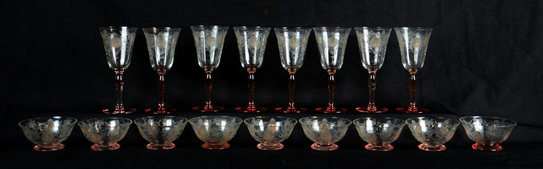 (17) Pcs Morgantown Glass Co. Queen Louise Glasse