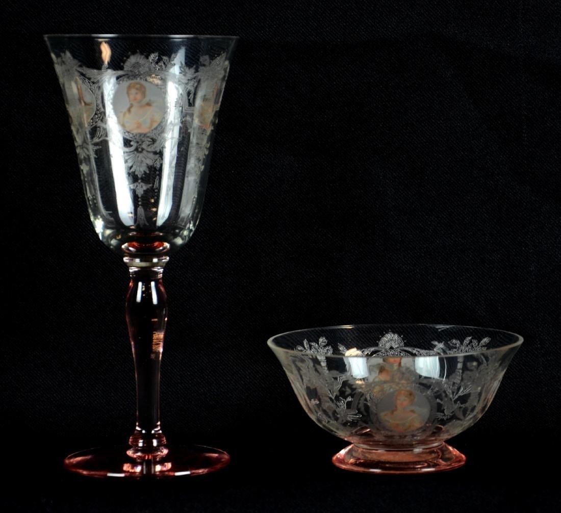 (17) Pcs Morgantown Glass Co. Queen Louise Glasse - 2