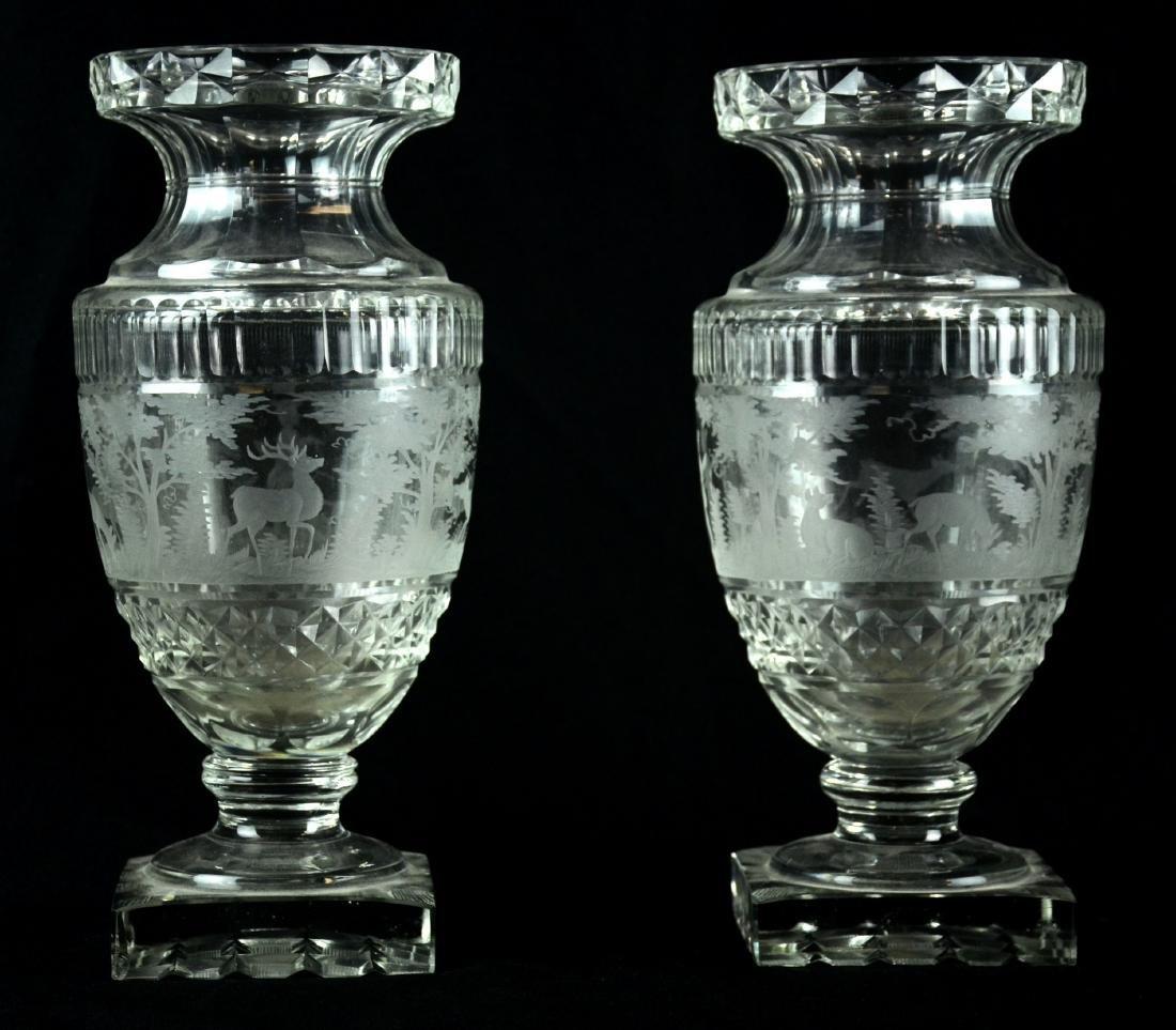 Pr Bohemian Cut Glass Vases