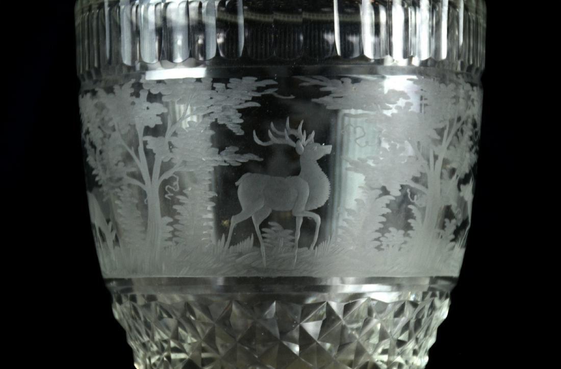 Pr Bohemian Cut Glass Vases - 2