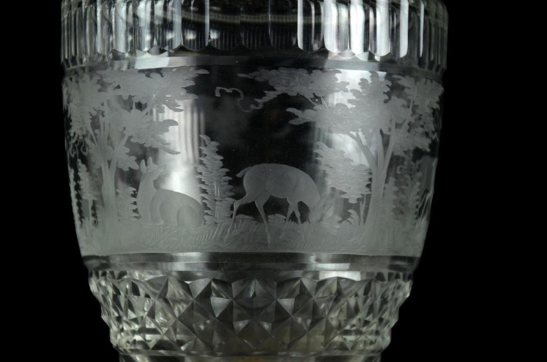 Pr Bohemian Cut Glass Vases - 3