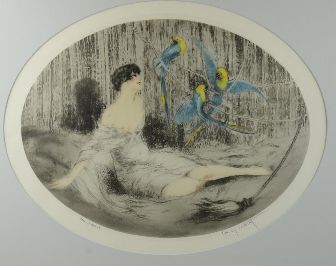 """Louis Icart Color Etching, """"Parrots"""" - 2"""