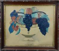 19th C Theorem painting bowl of fruit