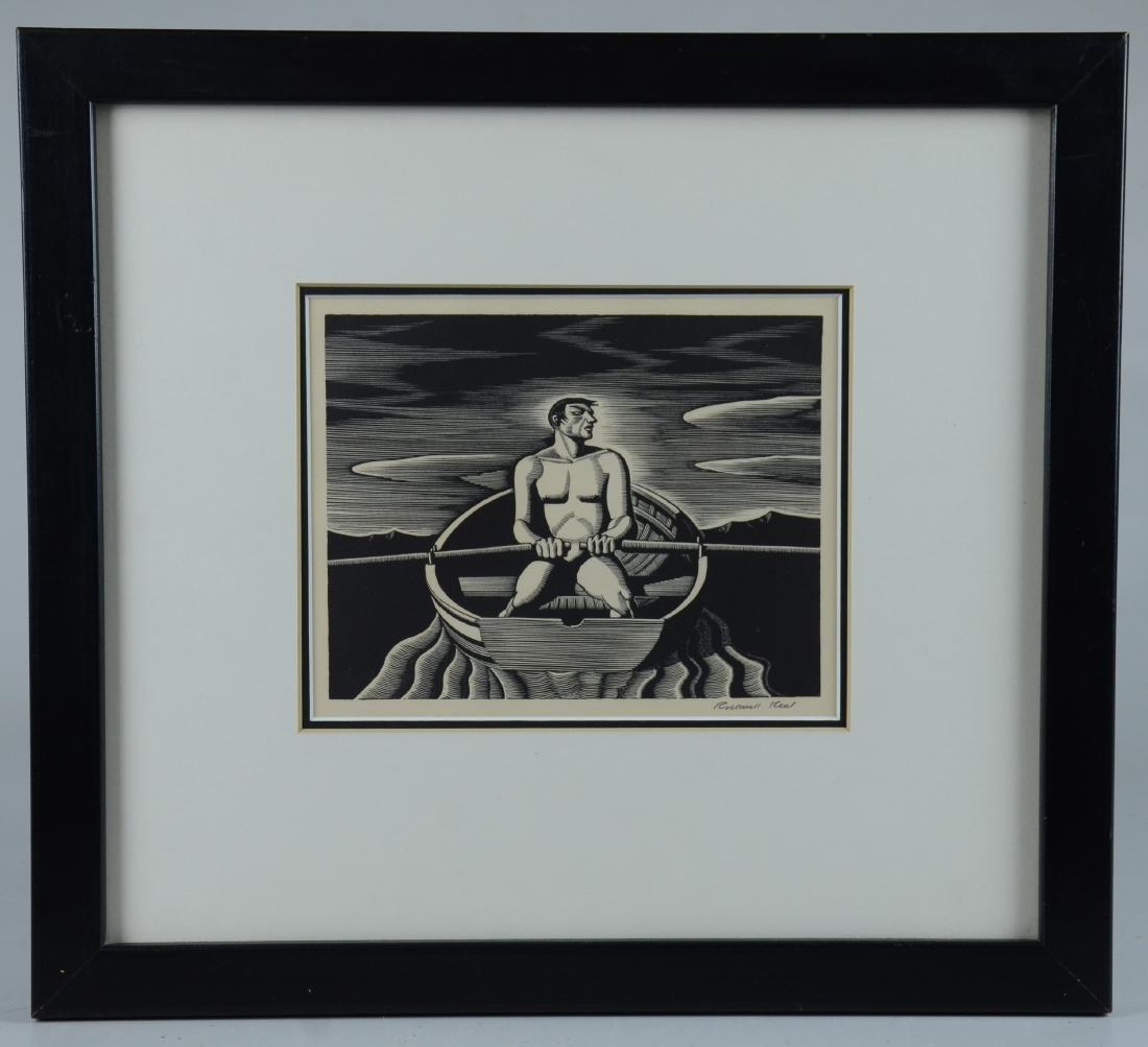 "Rockwell Kent Woodcut Print, ""Oarsman"""