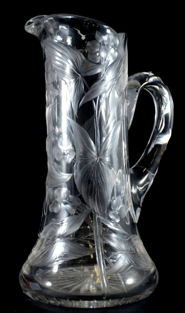 Intaglio cut orchid pattern pitcher