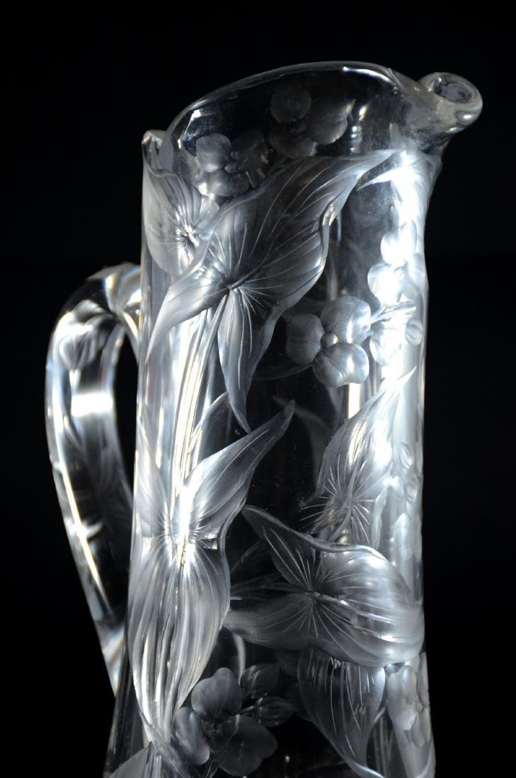 Intaglio cut orchid pattern pitcher - 2