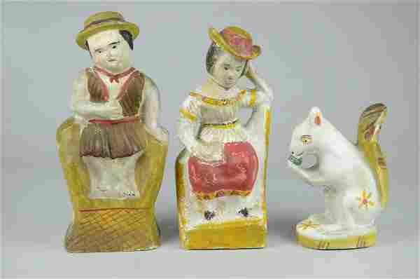 (3) Chalkware Figures