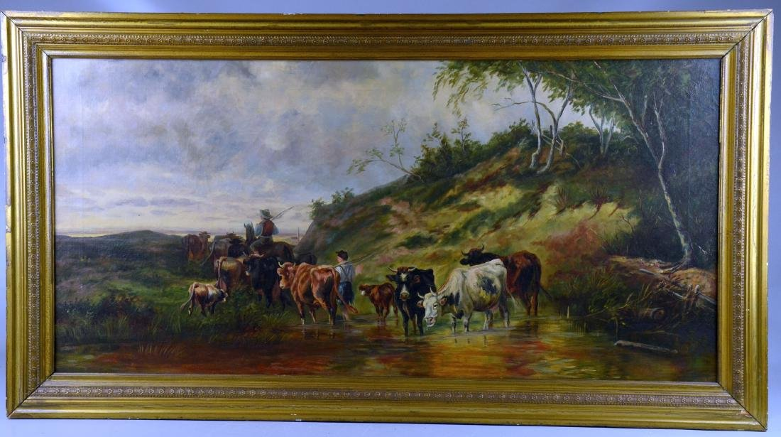 19th C Continental Pastoral Landscape Painting