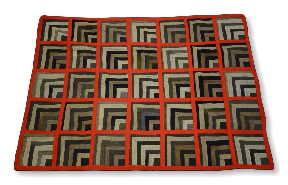 Log Cabin Wool Quilt, PA c 1900