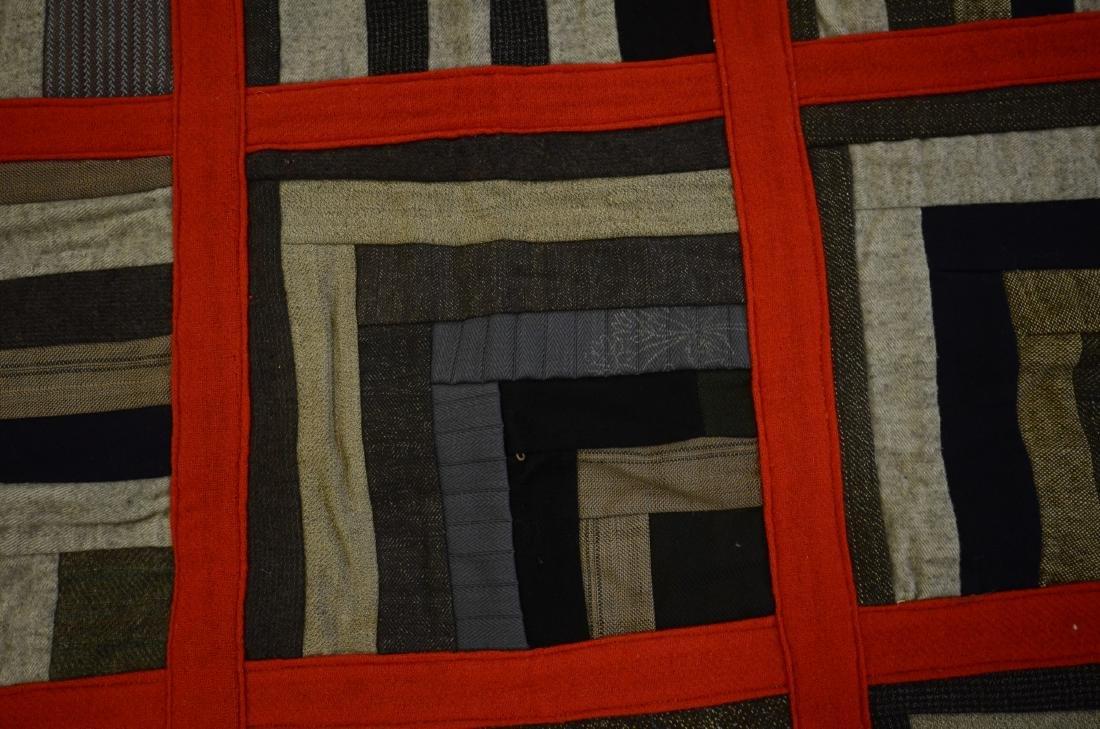 Log Cabin Wool Quilt, PA c 1900 - 2