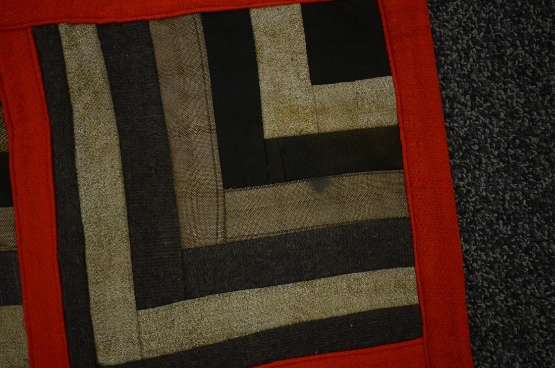 Log Cabin Wool Quilt, PA c 1900 - 3