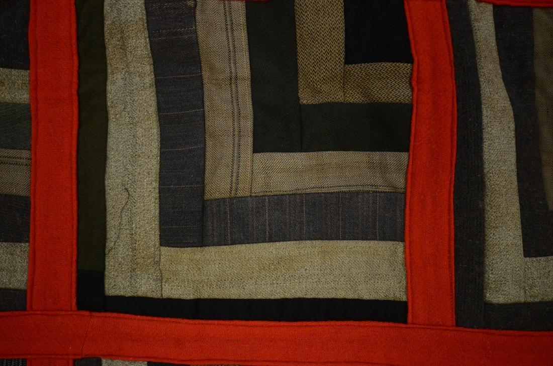 Log Cabin Wool Quilt, PA c 1900 - 4