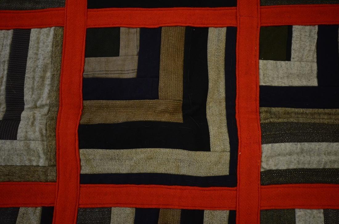 Log Cabin Wool Quilt, PA c 1900 - 6