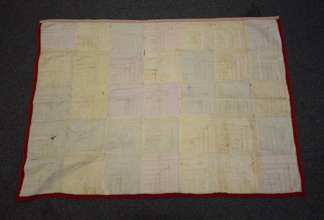 Log Cabin Wool Quilt, PA c 1900 - 7