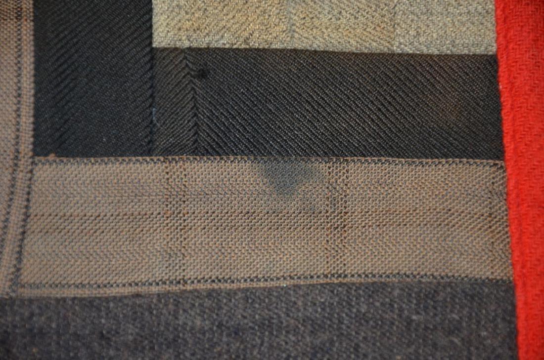 Log Cabin Wool Quilt, PA c 1900 - 8
