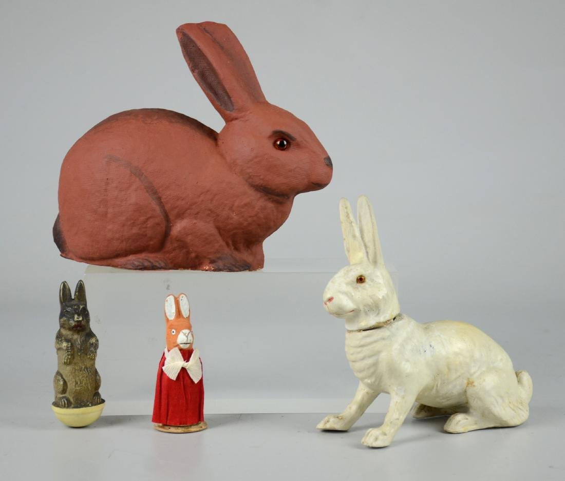 (4) Rabbit Candy Containers/Roly Poly Toy