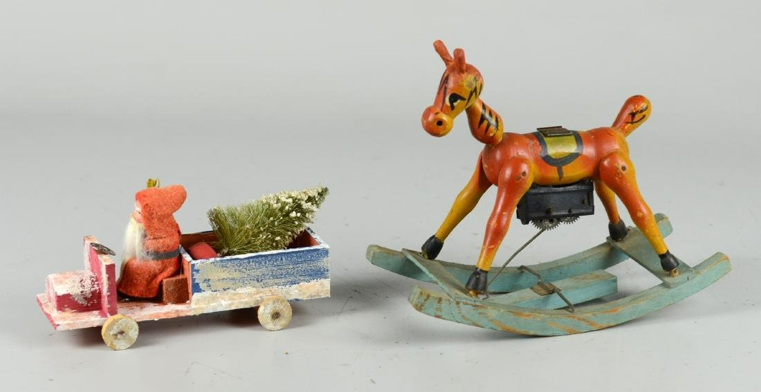 (2) Santa Claus Figures, Rocking Mechanical Horse - 2