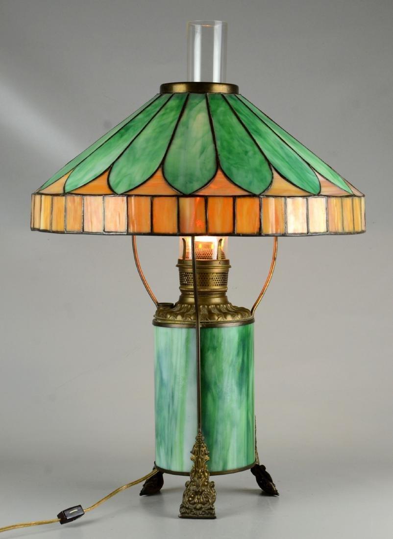 Green & caramel slag glass table lamp