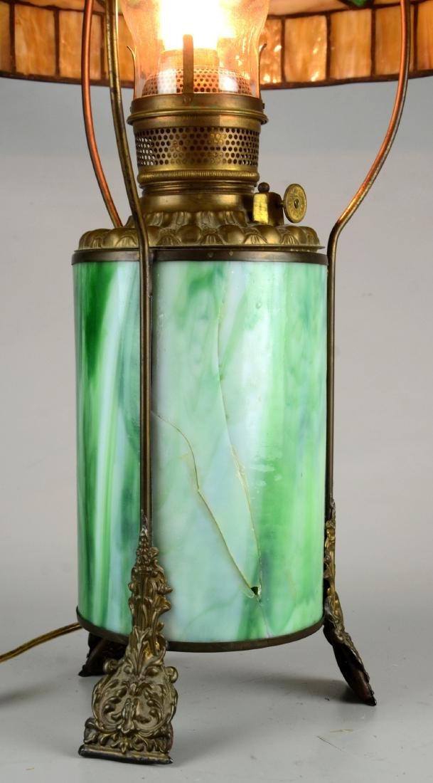 Green & caramel slag glass table lamp - 2