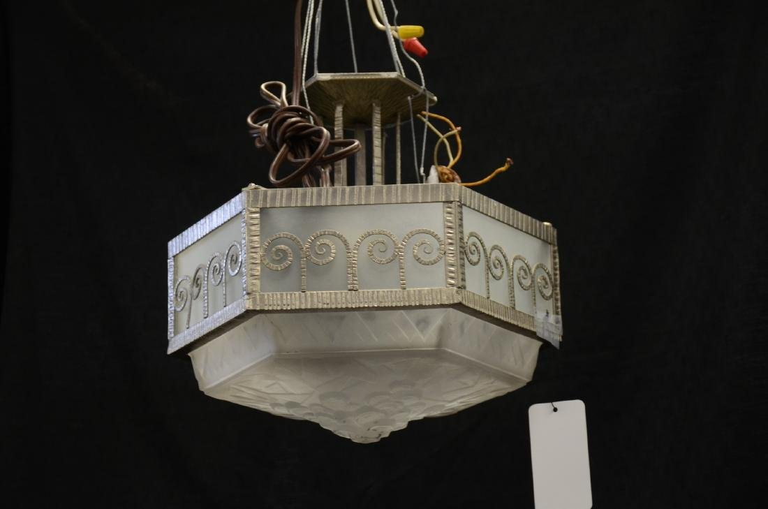 "Pair Art deco hanging lights, 10-1/2""h x 15""diameter"
