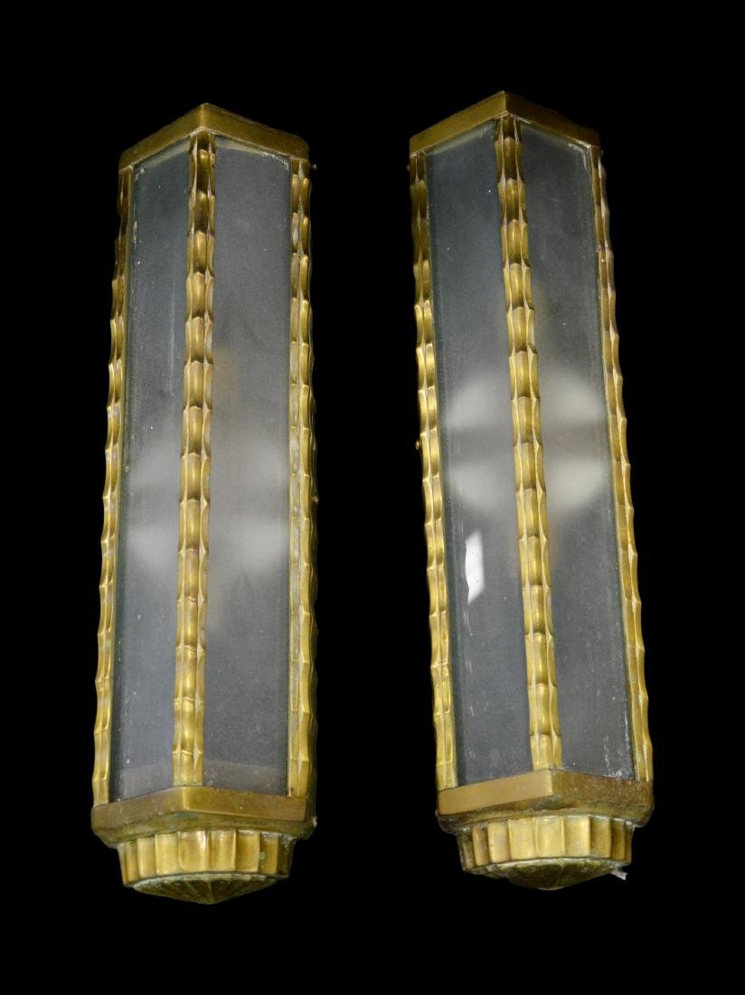 "pair long brass sconces, 13""h x 10""w"