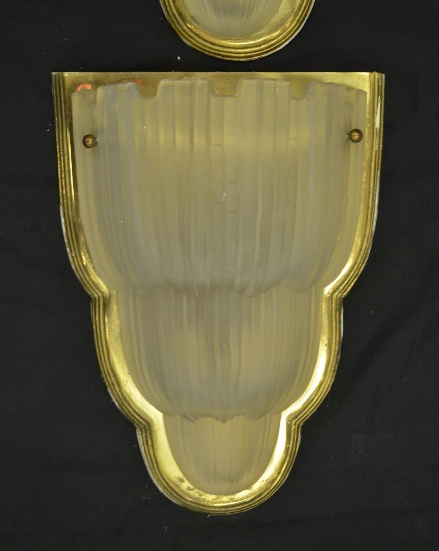 "(4) Art deco brass and glass sconces, 19""h x 6""w - 2"