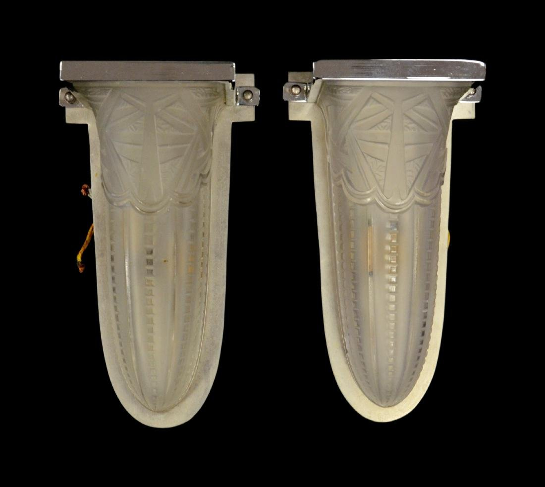 "Pair art deco sconces, 12-1/2""h x 6-1/2""w"