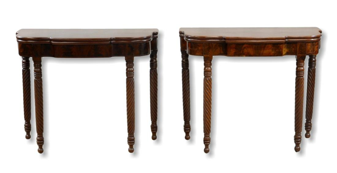 Pair mahogany Sheraton game tables