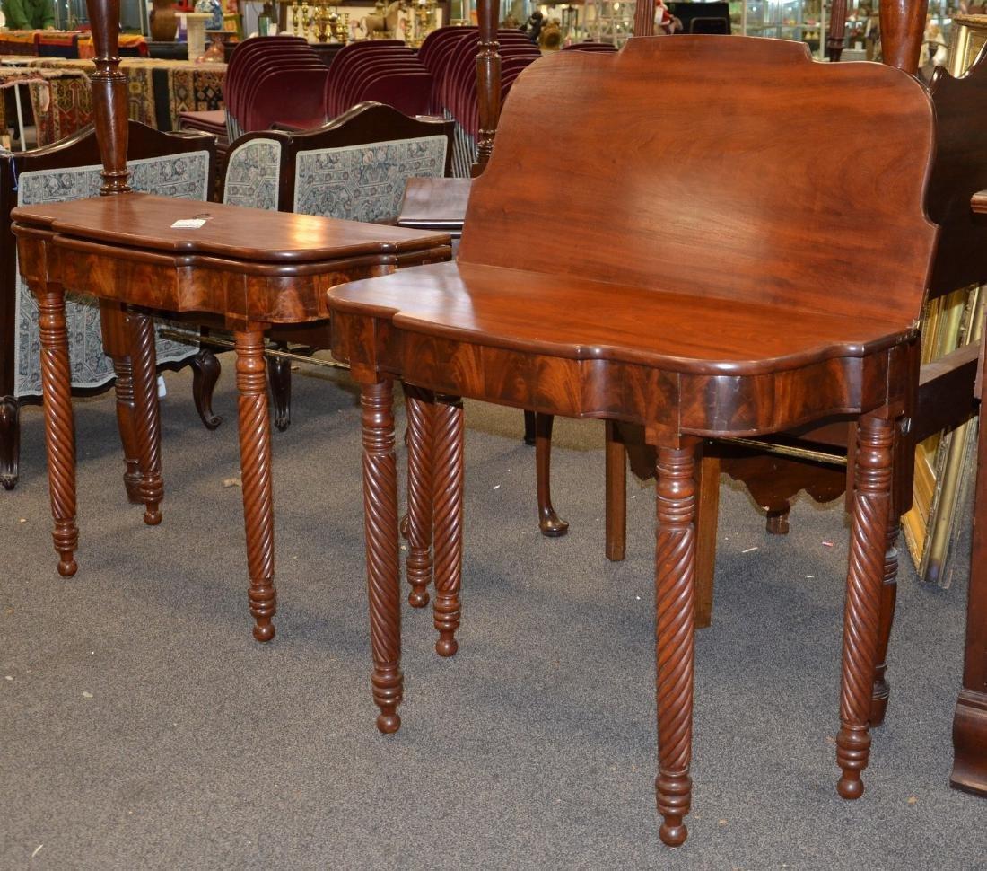 Pair mahogany Sheraton game tables - 2